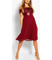 bridesmaid occasion sequin bardot midi dress, berry