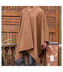 men's alpaca blend poncho, 'inca explorer in camel brown' (peru)