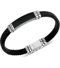 effy men's onyx leather braided bracelet in sterling silver (also in malachite)
