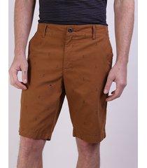 bermuda de sarja masculina reta estampada de âncoras com bolsos kaki