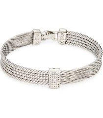 14k white gold stainless steel & white topaz rope bangle bracelet