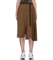 pleated side tailored belted culotte pants
