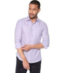 camisa manga larga masculina lila slim fit presilla e hilo boton en contraste slim fit los caballeros