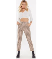 womens check print tapered pants with high-waist - beige
