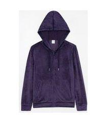 jaqueta básica esportiva plush com capuz e bolso canguru | get over | azul | p