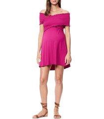women's maternal america crisscross off the shoulder maternity/nursing dress, size large - pink