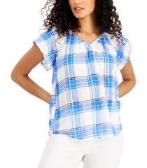 style & co cotton plaid flutter sleeve top, created for macy's