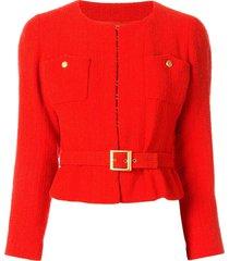 chanel pre-owned 1996 belted tweed jacket - orange