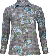 camisa estampada flores y cuadros color azul, talla 16
