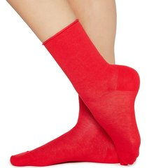calzedonia - short cotton socks with comfort cut cuffs, 39-41, red, women