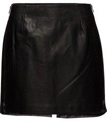 brishen pu side zip skirt korte rok zwart french connection