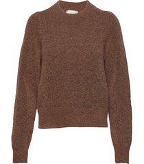 brook knit volumen o-neck stickad tröja brun second female