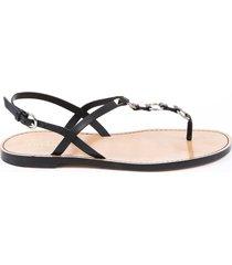 valentino rockstud black leather thong sandals sz 38.5 black sz: 8