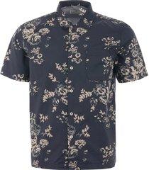 universal works road shirt - navy flower poplin 20673