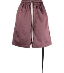 rick owens drkshdw drawstring waist drop-crotch shorts - red
