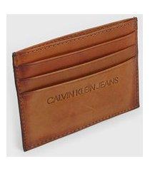 porta-cartão calvin klein jeans pespontos caramelo