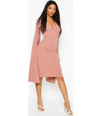 cape sleeve open back midi dress, mauve