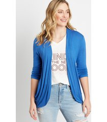 maurices womens blue 3/4 sleeve slouchy pocket cardigan