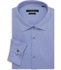 john varvatos star u.s.a. men's spencer regular-fit striped dress shirt - sapphire - size 15 r