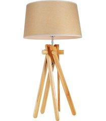 luminária de mesa pegasus marrom/madeira rivatti