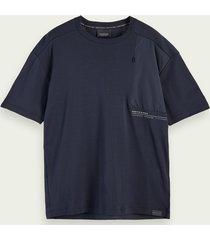 scotch & soda t-shirt van biologisch katoen met inzetstukken