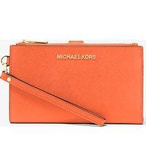 mk portafoglio da polso jetset grande per smartphone - mandarino (arancio) - michael kors