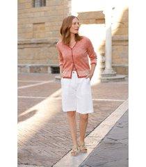 comfortabele linnen bermuda met deels elastische tailleband, steengroen 40