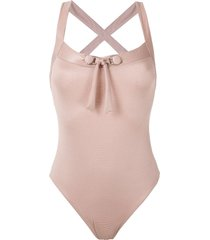 amir slama front tie detail ribbed swimsuit - gold
