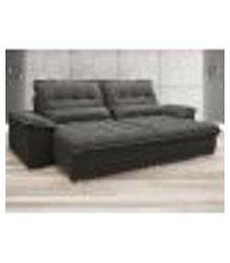 sofa bergamo 2,50m assento retratil e reclinavel velosuede cinza - netsofas