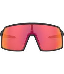 oakley sutro s 128mm prizm(tm) wrap shield sunglasses in pol black at nordstrom