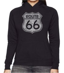 la pop art women's word art hooded sweatshirt -cities along the legendary route 66