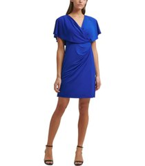 kensie draped blouson a-line dress