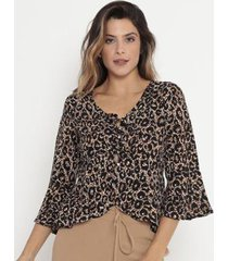 blusa animal print com babados operate feminina - feminino