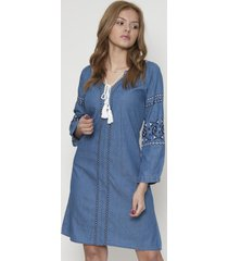 vestido jeans con bordado azul 609seisceronueve