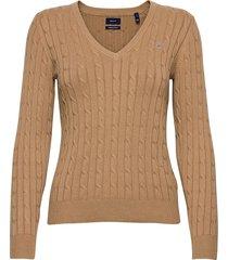 stretch cotton cable v-neck gebreide trui beige gant