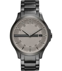 ax armani exchange men's gunmetal-tone stainless steel bracelet watch 46mm ax2194