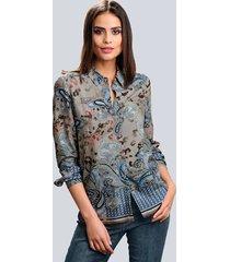 blouse alba moda taupe::blauw