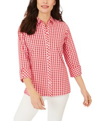 women's foxcroft britten gingham non-iron button-up blouse, size 16 - red