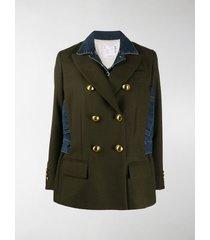 sacai hybrid double breast denim coat