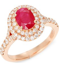 14k rose gold, ruby & diamond solitaire ring