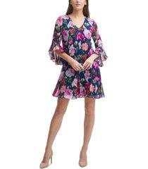 calvin klein chiffon bell-sleeve a-line dress