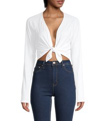 alala women's nice plunging tie-front crop top - white - size m
