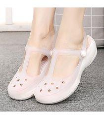 decolor agujero planas zapatillas plataformas sandalias para mujeres verano
