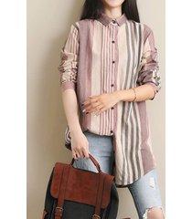 camicetta a maniche lunghe a righe multicolore irregolare per donna