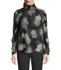 kobi halperin women's arielle printed highneck blouse - pulmice multi - size m