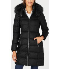 andrew marc hooded fur-trim puffer coat
