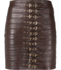 manokhi buckle-detailed leather short skirt - brown