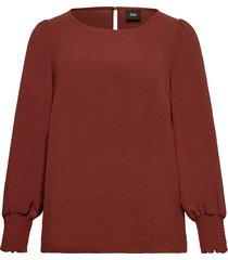 blouse balloon sleeves plus smock blus långärmad röd zizzi