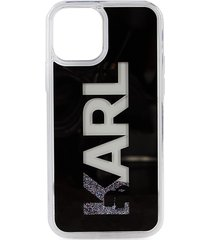 karl lagerfeld paris karl liquid glitter iphone 12 & 12 pro case - silver
