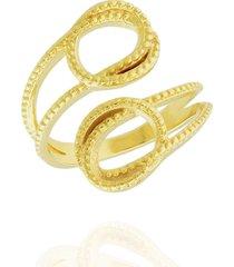 anel dona diva semi joias laços dourado